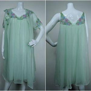Vtg Shadow Line Sz M Mint 50s 60s Nightgown set